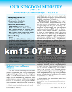 Our Kingdom Ministry Km Jw Org