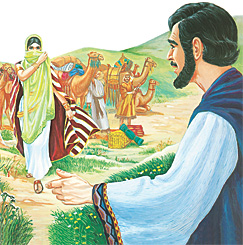 Rebeka na a kumana na Isaka