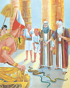 Moïse ek Aaron devant Pharaon