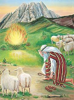摩西在燃燒着的矮樹前