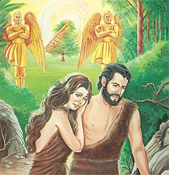 Ádam og Eva verða koyrd burtur úr Edens urtagarði