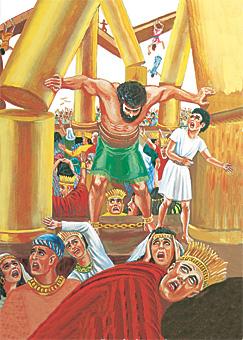 Samson trýstir á stólparnar, so húsið raplar saman