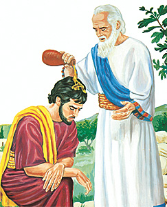 Samúel smyr Sál til konungs