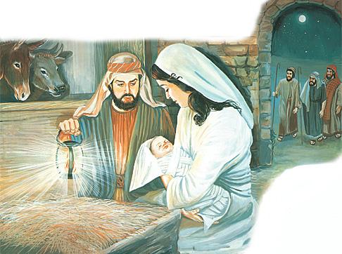 Jósef, María og barnið Jesús