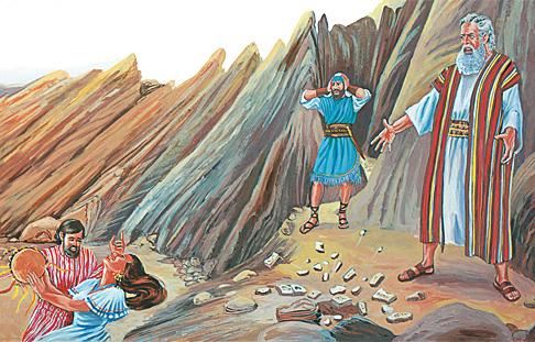 Мойсей кидає на землю дві кам'яні плити