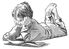 Ном уншиж байгаа хүү