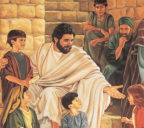 어린이들과 이야기하고 있는 예수