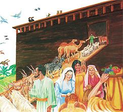 방주에 동물들을 태우고 식품을 싣는 노아의 가족