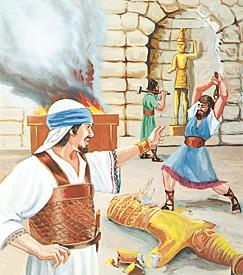 우상을 없애고 있는 요시야 왕과 그의 신하들