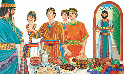 자신들의 믿음을 설명하는 다니엘, 사드락, 메삭, 아벳느고