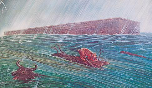 Noas šķirsts peld pa ūdens virsu