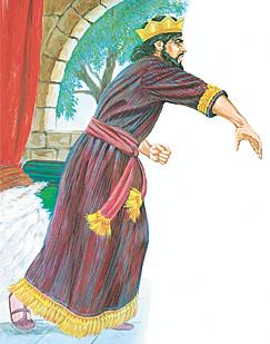 Ķēniņš Sauls met šķēpu