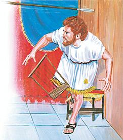 Dāvids izvairās no šķēpa