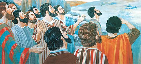 Учениците гледаат кон небото