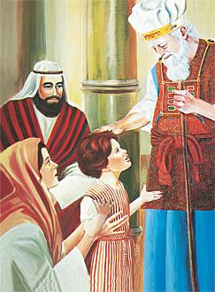 Samwel qed jiltaqa' mal-qassis il-kbir Eli