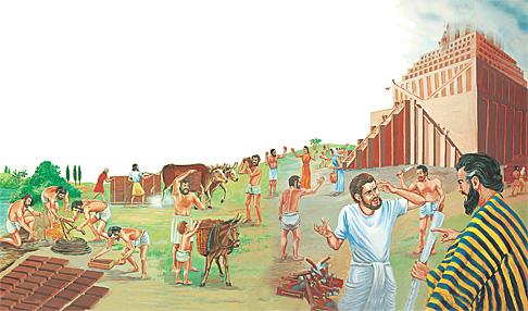 ആളുകള് ഒരു വലിയ ഗോപുരം പണിയുന്നു
