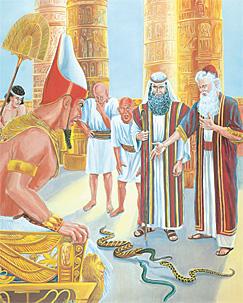 ഫറവോന്റെ മുമ്പില് നില്ക്കുന്ന മോശെയും അഹരോനും