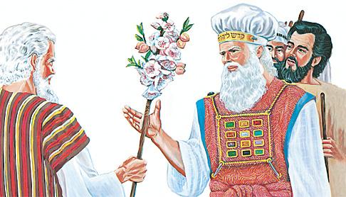 മോശെ അഹരോന് തളിര്ത്ത വടി കൊടുക്കുന്നു