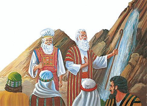 മോശെ പാറമേല് അടിക്കുന്നു