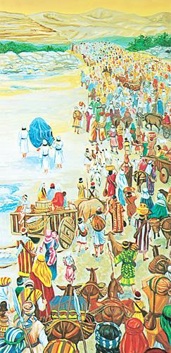 യോര്ദ്ദാന് നദി മുറിച്ചുകടക്കുന്ന ഇസ്രായേല്യര്