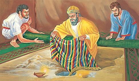 ആഖാന് മോഷ്ടിച്ച സാധനങ്ങള് ഒളിപ്പിക്കുന്നു