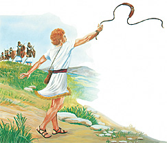 ദാവീദ് ഒരു കല്ലെടുത്ത് കവിണയില്വെച്ച് എറിയുന്നു