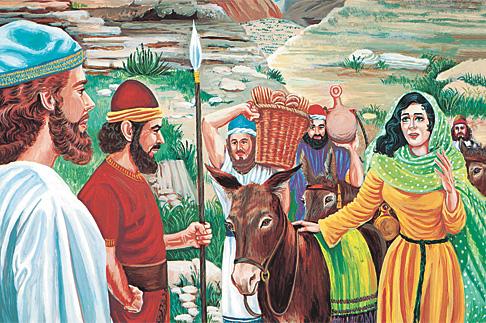 അബീഗയില് കുറെ ഭക്ഷണസാധനങ്ങളുമായി ദാവീദിനെ കാണാന് വരുന്നു