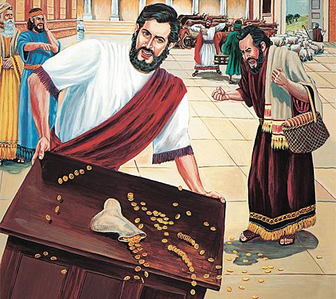 യേശു മേശകള് മറിച്ചിട്ട് നാണയങ്ങള് ചിതറിച്ചുകളയുന്നു