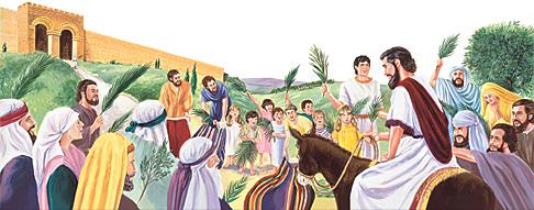 ആളുകള് യേശുവിനെ വരവേല്ക്കുന്നു