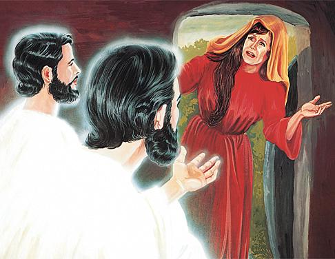 स्वर्गदूतहरू मरियम मग्दलिनीसँग कुरा गर्दै