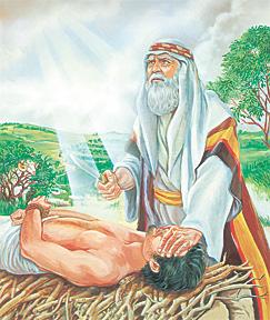 अब्राहाम इसहाकको बलिदान चढाउँदै
