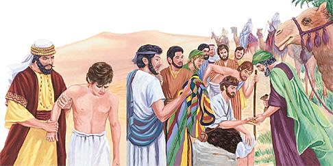 दाइहरूले यूसुफलाई बेच्दै