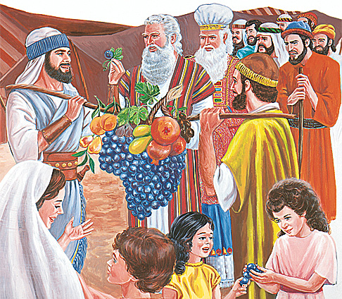 इस्राएली जासुसहरू फलफूल बोकेर ल्याउँदै