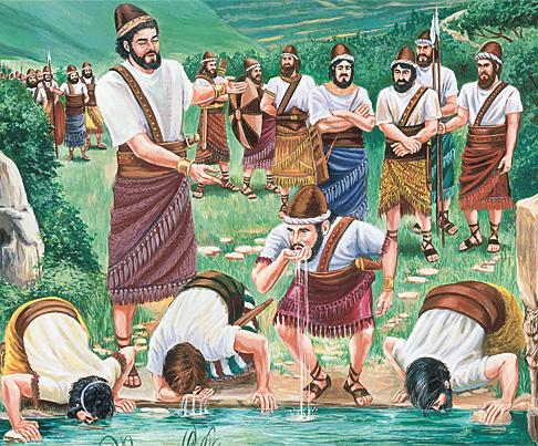 गिदोन आफ्ना मान्छेहरूको जाँच लिंदै छन्