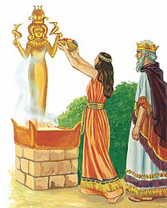 राजा सुलेमान मूर्तिपूजा गर्दै