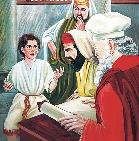 बालक येशू शिक्षकहरूसित कुरा गरिरहेको