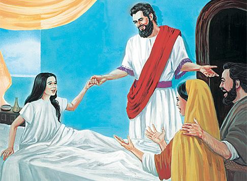 येशू याइरसकी छोरीलाई बिउँताउँदै
