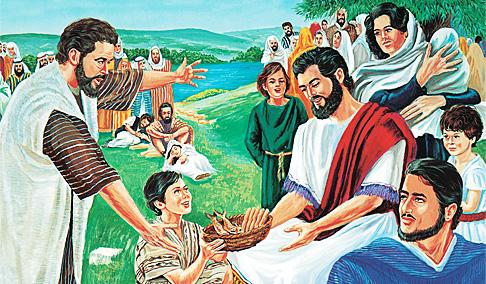 येशू भीडलाई खुवाउँदै