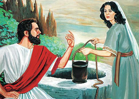 Hesus ta papia ku un señora samaritano