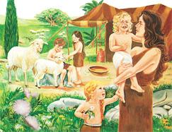 حوا همراه فرزندانش