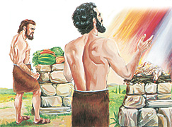 קין והבל מקריבים קורבנות לאלוהים