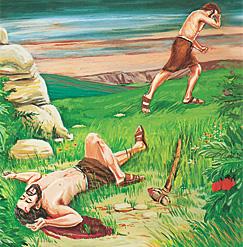 קין בורח לאחר שהרג את הבל