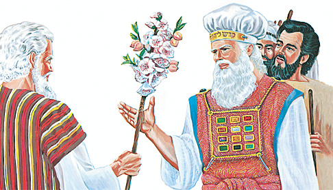 משה נותן לאהרון את המטה הפורח