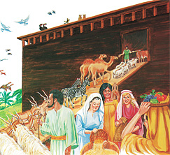 Нојева породица уводи животиње и припрема храну за арку