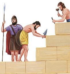 Itinatayo ng mga manggagawa ang mga pader ng Jerusalem
