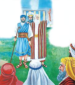 Musa yeni liderin Yeşu olduğunu duyuruyor