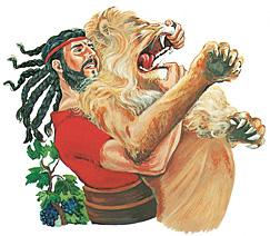 Şimşon bir aslanla boğuşuyor