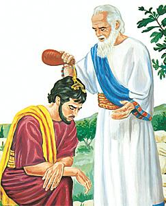 Samuel Saul'u kral olarak meshediyor