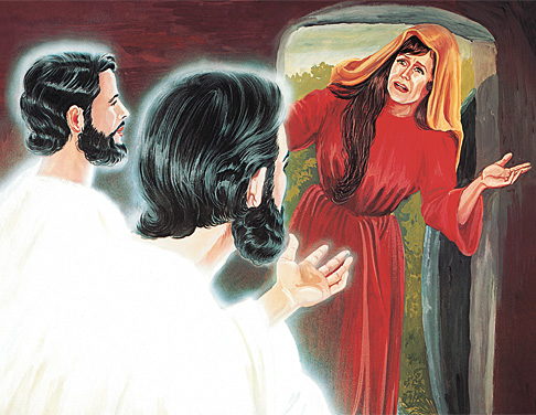 Anjeli hovoria s Máriou Magdalénou