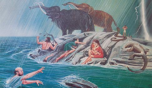 Vyľakaní ľudia a zvieratá obklopení vodami potopy